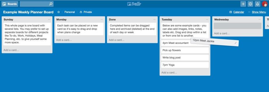 Example Weekly Planner Board